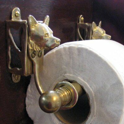 WELSH CORGI Bronze Toilet Paper Holder OR Paper Towel Holder!