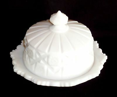 Westmoreland OLD QUILT WHITE *CHEESE DISH w/LID*OQ11*