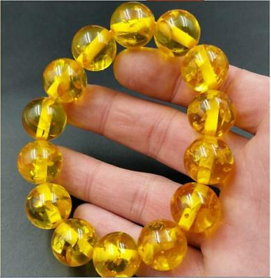 Hot style Amber beeswax yellow Round bead bracelet Men and women's bracelets
