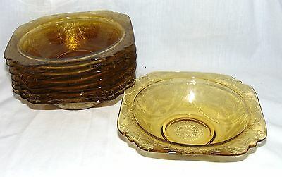 "8 Federal MADRID* 76 RECOLLECTION* AMBER* 6 3/4"" CEREAL BOWLS*"