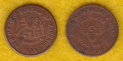 New Mexico Tax Token 5 Mils 1935  ----  Qaav