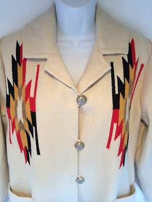 ORTEGA'S Chimayo Wool Hand Woven Aztec Southwestern Jacket Coat Medium