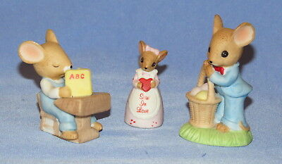 3 Enesco Mice Figurines 1984 - ABC student, Easter basket, Sew in Love mouse