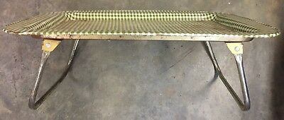Vtg Metal Folding TV Lap Bed Tray Table Checked Pattern Mid Century Antique