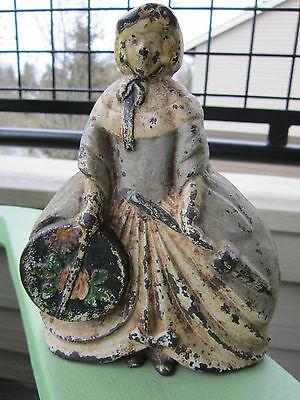 "Antique Cast Iron ""woman In Hoop Skirt W/ Parasol & Hatbox"" #30 Doorstop"