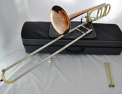 Professional Rose brass thayer valve Bb/F Trombone Horn cupronickel slide Case