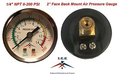 "Air Compressor Pressure / Hydraulic Gauge 2"" Face Back Mount 1/4"" NPT 0-200 PSI"