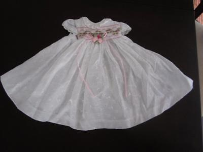 SMOCKED WHITE EYELET TEA LENGTH DRESS Fits CHATTY CATHY FREE SHIPPING