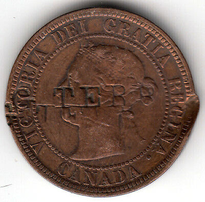 Canadian 1891 Large Cent counterstamped