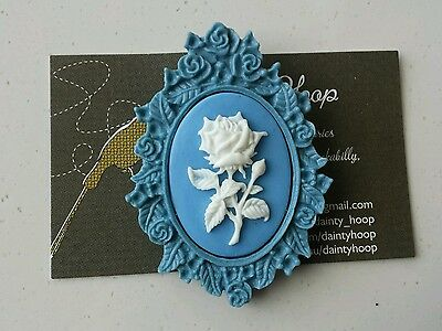 Vintage inspired blue resin brooch flower  setting 30x40mm badge pin kitsch