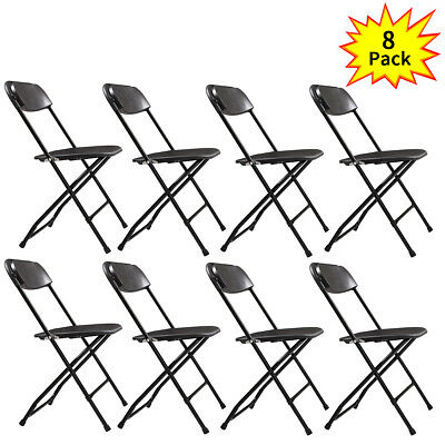 (8 PACK) Commercial Wedding Quality Stackable Plastic Folding Chairs BLACK