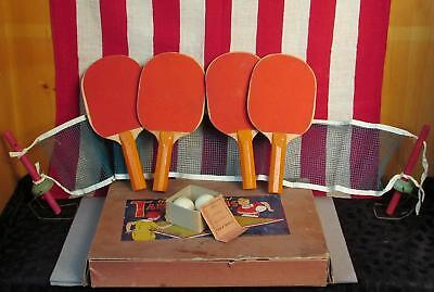Vintage 1930s Gold Medal Table Tennis Antique Ping Pong Set Transogram Co No.675