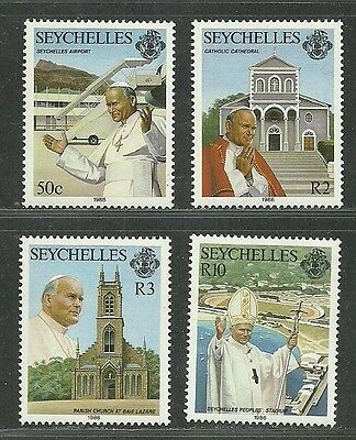 Seychelles 1986 VF MNH Stamps Sc.# 606-609 Visit of Pope John Paul II CV 13.00 $