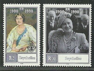 Seychelles 1990 VF MNH Stamps Scott # 710-1 CV 6.60$ Queen Mother 90th Birthday