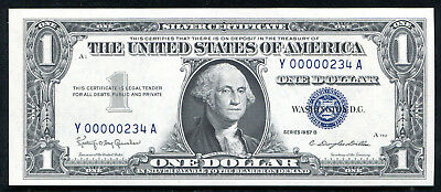 "1957-B $1 Silver Certificate ""Low Ladder Serial #y00000234A"" Gem Unc"