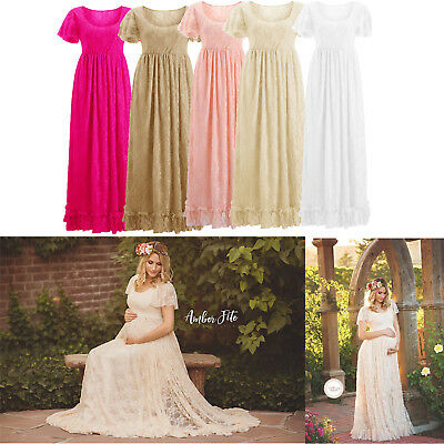 Maxi Pregnant Women Lace Gown Maternity Photography Photo Shoot Fancy Dress US