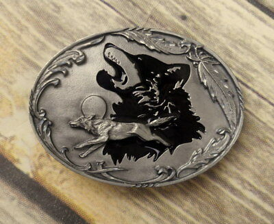 Howling Running Wolf Belt Buckle Siskiyou 2000 Pewter Black Wolves Feathers Moon