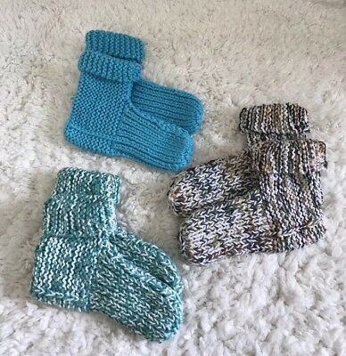 Handmade Chunky Knit Booties Socks Slippers Size Medium