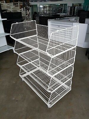Wire Four Level Stacker Basket On Wheels For Shop Retail Brand New White