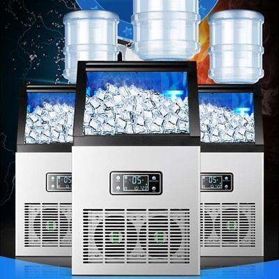 US Plug 55KG/24H Auto Commercial Ice Maker Cube Machine Stainless Steel Bar 240W