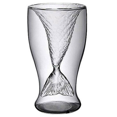 10x(Clear 100ml Creative Mermaid Shape Glass Wine Beer Cup for Bar Party (T L5Q1