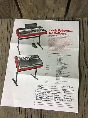 Vintage 1960s CONTESSA ELECTRONIC 96 KEYBOARD LITERATURE CATALOG