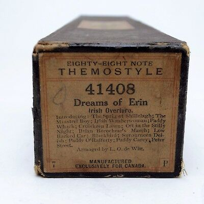 Antique Piano Roll Eighty-Eight Themostyle 41408 Dreams of Erin Irish Overture