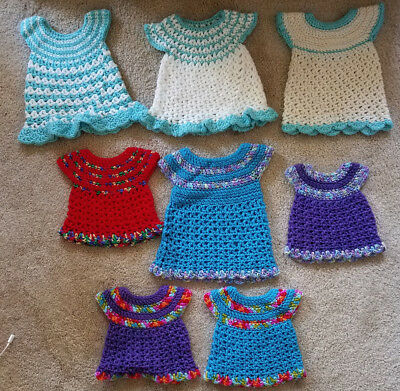 Handmade Crochet Knit Baby Clothes Or Doll Clothes Dresses New