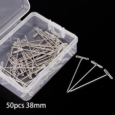 50Pcs Metal 38mm Silver T Pins For Modelling Macrame Wigs Sewing Craft DIY