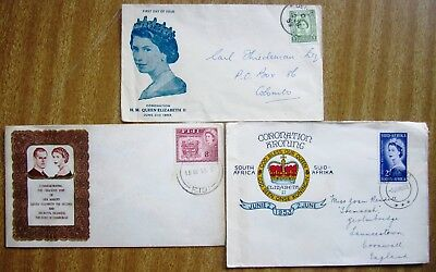 Selection of O/Seas Used First Day Covers:  QUEEN ELIZABETH CORONATION & VISIT