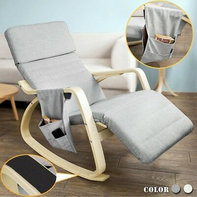 SoBuy® Adult Wooden Rocking Lounge Chair, Relax Recliner, Light Grey,FST19-HG,UK