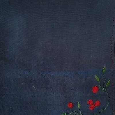 """ANT SILK CREPE Embroidered Navy Blue Mourning Hankie """"D"""" Monogram, 12"""" x 12""""!"""