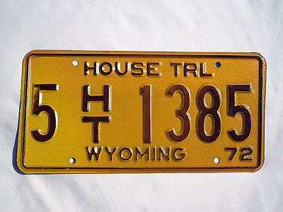 1972 WYOMING HOUSE TRL License Plate Tag #5 HT 1385  Unused