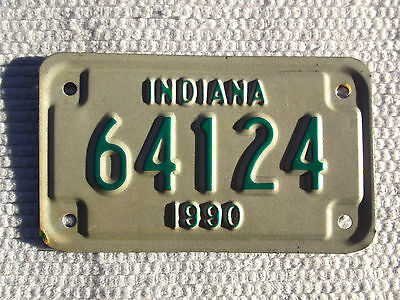 Unissued Indiana 1990 Motorcycle License Plate vintage tag# 64124 New Old Stock
