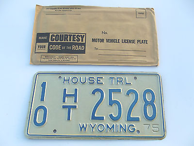 1975 WYOMING HOUSE TRL License Plate Tag # 10 HT 2528 Unused NOS New Old Stock