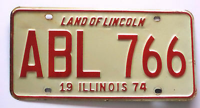 1974 ILLINOIS LAND OF LINCOLN License Plate Tag # ABL 766 Used State Of Illinois