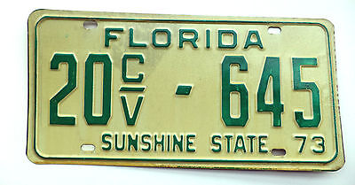 1973 FLORIDA Commercial Vehicle License Plate Tag# 20CV-645 SUNSHINE STATE