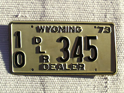 Nice 1973 WYOMING DEALER License Plate Tag #10 DLR 345 NOS New Old Stock