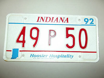 1992 INDIANA HOOSIER HOSPITALITY License Plate tag # 49p 48 used expired plate