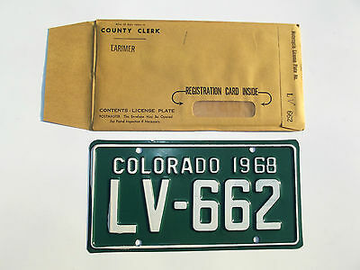 Colorado 1968 Motorcycle License Plate tag #LV-662 NOS New Old Stock un-issued