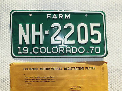 NOS 1970 COLORADO FARM License Plate Tag # NH 2205 Nice Unissued license plate