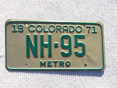 """1971 METRO COLORADO License Plate Tag low # NH-95 unused """"new old stock"""""""