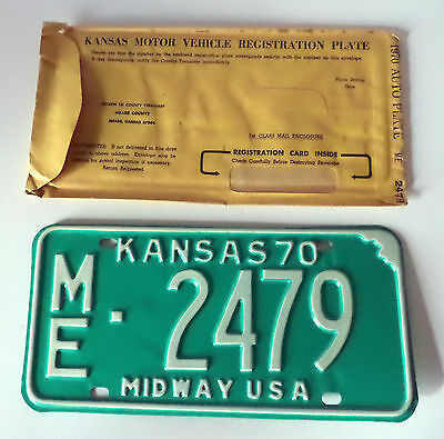 NOS 1970 State OF KANSAS MIDWAY USA License Plate Tag # ME-2479 Expired
