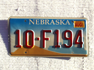 Used 2002 NEBRASKA License Plate # 10-F194  AUG  2002 Good Used condition