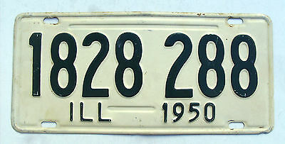 Nice 1950 ILL STATE Of  ILLINOIS License Plate Tag #1828 288 Expired Vintage Tag