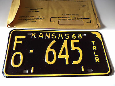 NOS 1968 State OF KANSAS TRLR License Plate Tag # FO-645 Expired