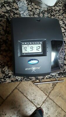 Lathem 1500E Atomic Time Digital Clock Document Punch Keeper Recorder No Key