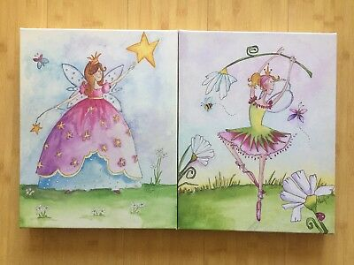 Set Of 2 Art Wall /Prints / Paintings Fairies For Children's Room New