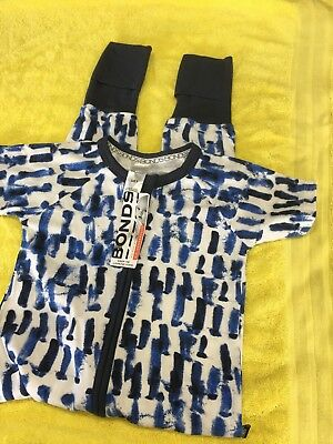 Size 3 Bonds Zippy Blue & White Short Sleeve Long Legs NEW With Tags
