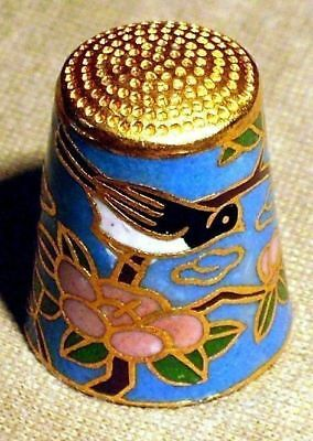 Thimble - Vintage Cloisonne - Brass and Enamel Bird and Flowers